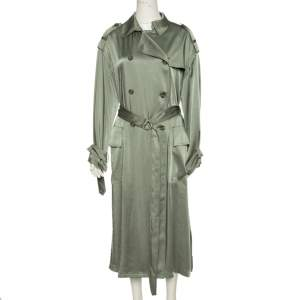 RED Valentino Khaki Green Fluid Satin Double Breasted Trench Coat S