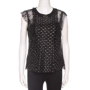 RED Valentino Black Lace Glitter Polka Dot Frill Top M