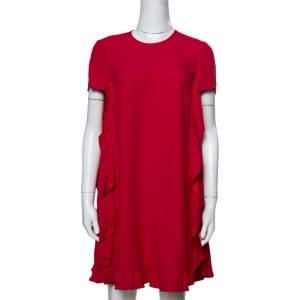 RED Valentino Ruffle Detail Crepe Satin Dress XS