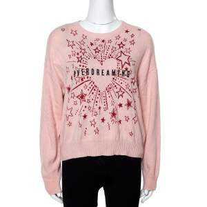RED Valentino Nude Pink Wool With Fireworks Jacquard Sweater S