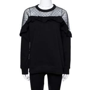 RED Valentino Black Cotton Point D'Esprit Tulle Detail Sweatshirt M