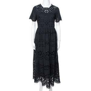 RED Valentino Black Cotton Voile With St. Gallen Embroidery Dress XS