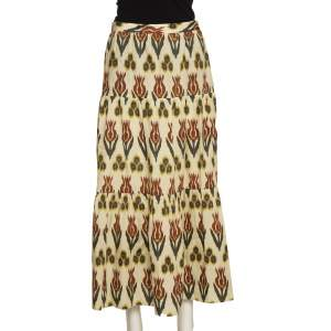 RED Valentino Beige Cotton Ikat Tulips Print Skirt S