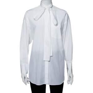 Valentino White Cotton Neck Tie Detail Stand Collar Oversized Shirt XS