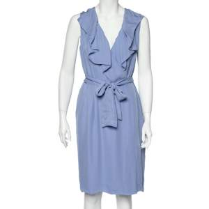 Valentino Blue Silk Ruffled Neck Detail Belted Wrap Midi Dress L