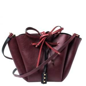 Valentino Red Leather Medium VLOGO Bucket Bag