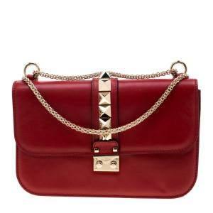 Valentino Rosso V. Leather Large Glam Lock Chain Shoulder Bag