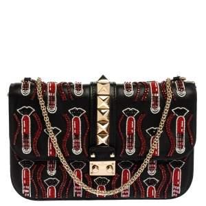 Valentino Black Rockstud Crystal Embellished Leather Medium Glam Lock Flap Bag