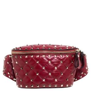 Valentino Red Quilted Leather Rockstud Spike Belt Bag