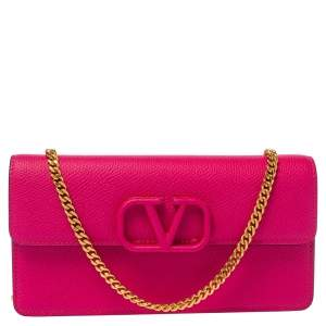 Valentino Magenta Leather Vsling Wallet on Chain