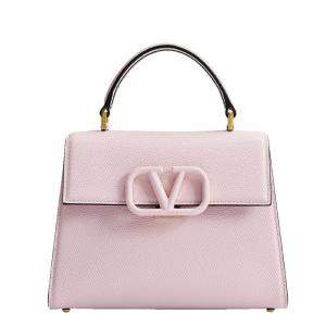 Valentino Garavani Rose/Grey Leather V Sling Small Top Handle Bag