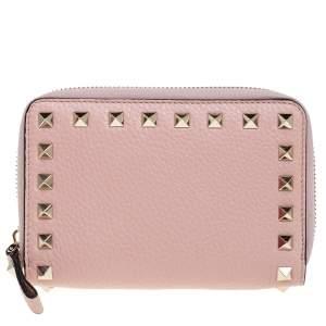 Valentino Blush Pink Leather Rockstud Zip Around Wallet