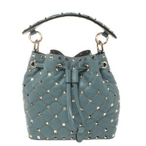 Valentino Amadeus Quilted Leather Small Rockstud Spike Bucket Bag