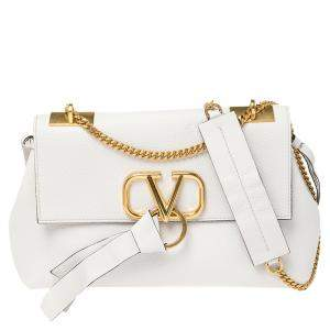 Valentino White Leather Vring Shoulder Bag