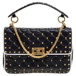 Valentino Black/White Quilted Leather Medium Rockstud Spike Shoulder Bag