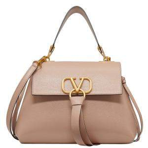 Valentino Rose Canelle Leather Small VRING Top Handle Bag