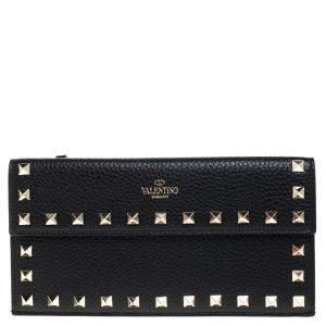Valentino Black Leather Rockstud Bill Pouch Wallet
