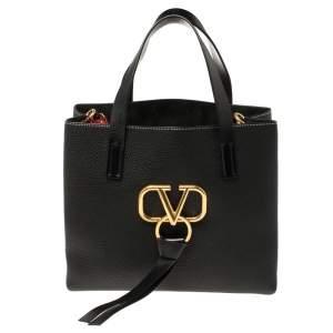 Valentino Black Pebbled Leather E/W VRING Tote