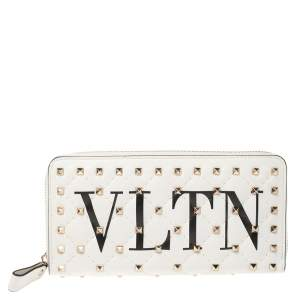 Valentino White Quilted Leather VLTN Rockstud Spike.It Continental Wallet