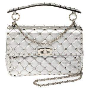 Valentino Silver Quilted Leather Medium Rockstud Spike Shoulder Bag