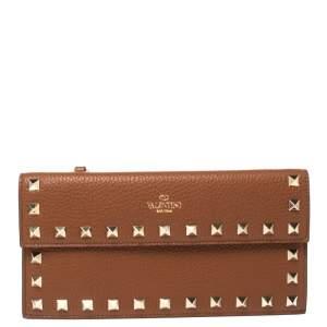Valentino Tan Leather Rockstud Bill Pouch Wallet