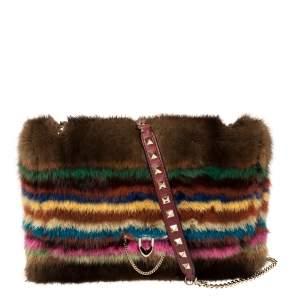 حقيبة فالنتينو روكستد فرو متعدد الألوان بقلاب