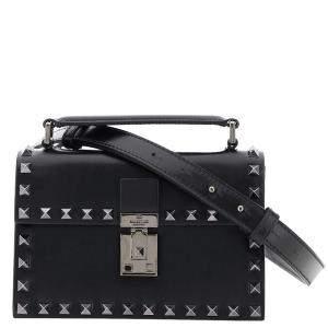 حقيبة كروس فالنتينو غارافاني روكستد جلد أسود صغيرة