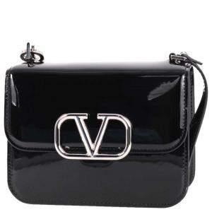 Valentino Garavani Black Patent Leather VLogo Crossbody Bag