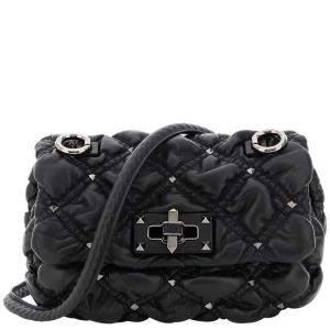 Valentino Garavani Black Leather Spikeme Small Nappa Bag
