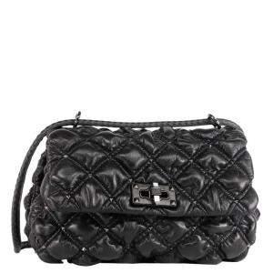 Valentino Garavani Black Medium Nappa Leather SpikeMe Shoulder Bag