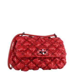 Valentino Garavani Red Medium Nappa Leather SpikeMe Shoulder Bag