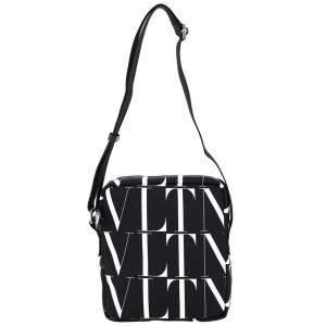Valentino Garavani Black/White Nylon Vltn Logo Print Crossbody Bag