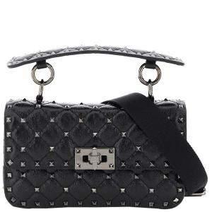 Valentino Garavani Black Leather Rockstud Spike Crossbody Bag