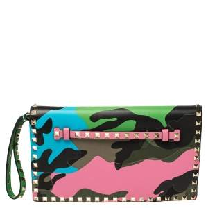 Valentino Multicolor Leather Camouflage Rockstud Wristlet Clutch