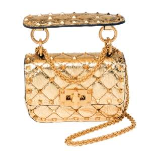 Valentino Gold Leather Micro Rockstud Spike Crossbody Bag