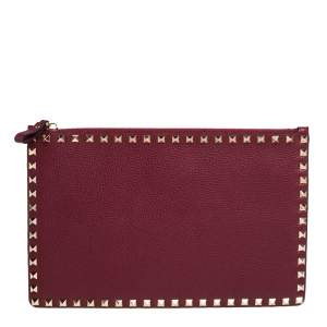 Valentino Burgundy Leather Rockstud Pouch