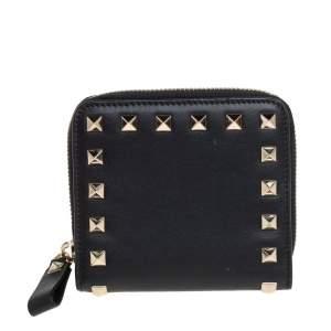 Valentino Black Leather Rockstud Zip Around Wallet