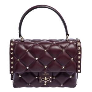 Valentino Burgundy Quilted Leather Medium Candystud Top Handle Bag