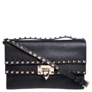Valentino Black Leather Rockstud Double Flap Crossbody Bag