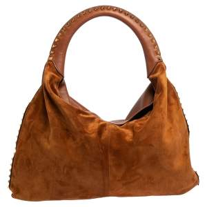 Valentino Brown Leather and Suede Rockstud Hobo