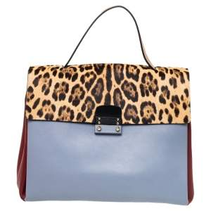 Valentino Multicolor Leather And Calf Hair Glam Lock Top Handle Bag