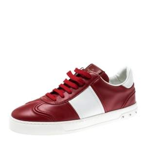 Valentino Red/White Leather Fly Crew Low Top Sneakers Size 40.5