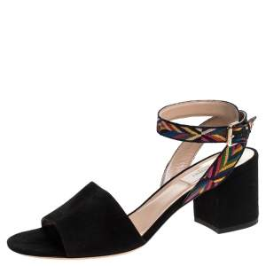 Valentino Black Suede And Multicolor Embroidered Fabric Strap Block Heel Sandals Size 38.5