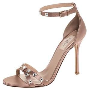 Valentino Pink Satin Crystal Rockstud Glam Ankle Strap Sandals Size 40