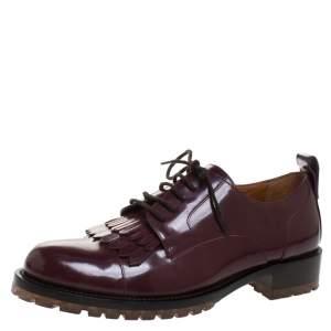 حذاء ديربي فالنتينو مزين شراشيب جلد بني مقاس 37