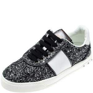 Valentino Rutenio/Bianco Glitter Flycrew Lace Up Sneakers Size 37