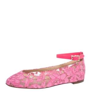 Valentino Pink Lace Ankle Strap Ballet Flats Size 37