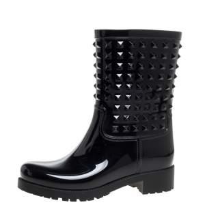 حذاء بوت مطر فالنتينو منتصف الركبة روكستد بى فى سى أسود مقاس 39
