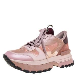 Valentino Pink Camouflage Leather, Canvas and Suede Platform Sneakers Size 40