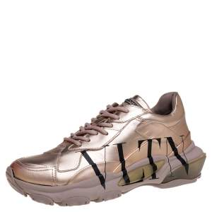 Valentino Metallic Rose Leather VLTN Bounce Platform Sneakers Size 38